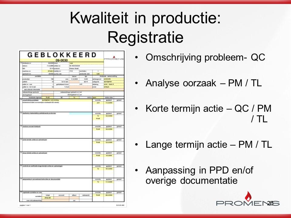 Kwaliteit in productie: Registratie