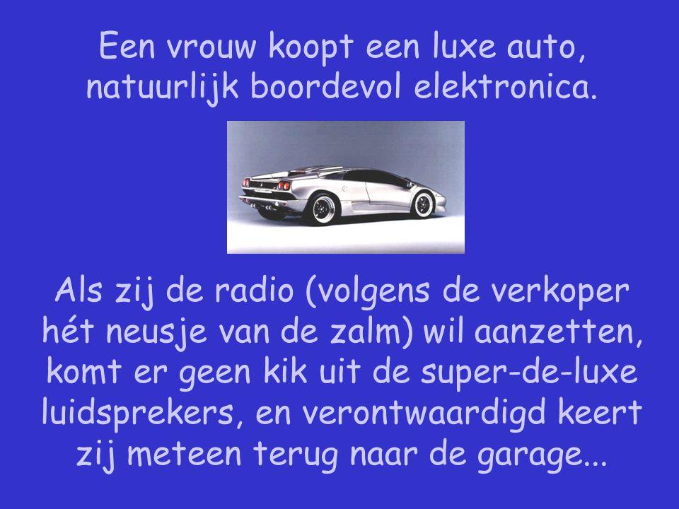 Een vrouw koopt een luxe auto, natuurlijk boordevol elektronica