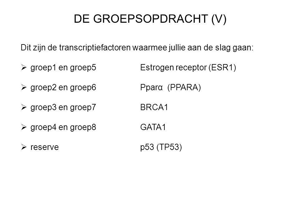 DE GROEPSOPDRACHT (V) Dit zijn de transcriptiefactoren waarmee jullie aan de slag gaan: groep1 en groep5 Estrogen receptor (ESR1)