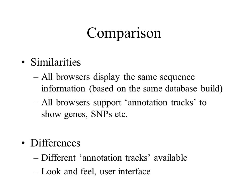 Comparison Similarities Differences