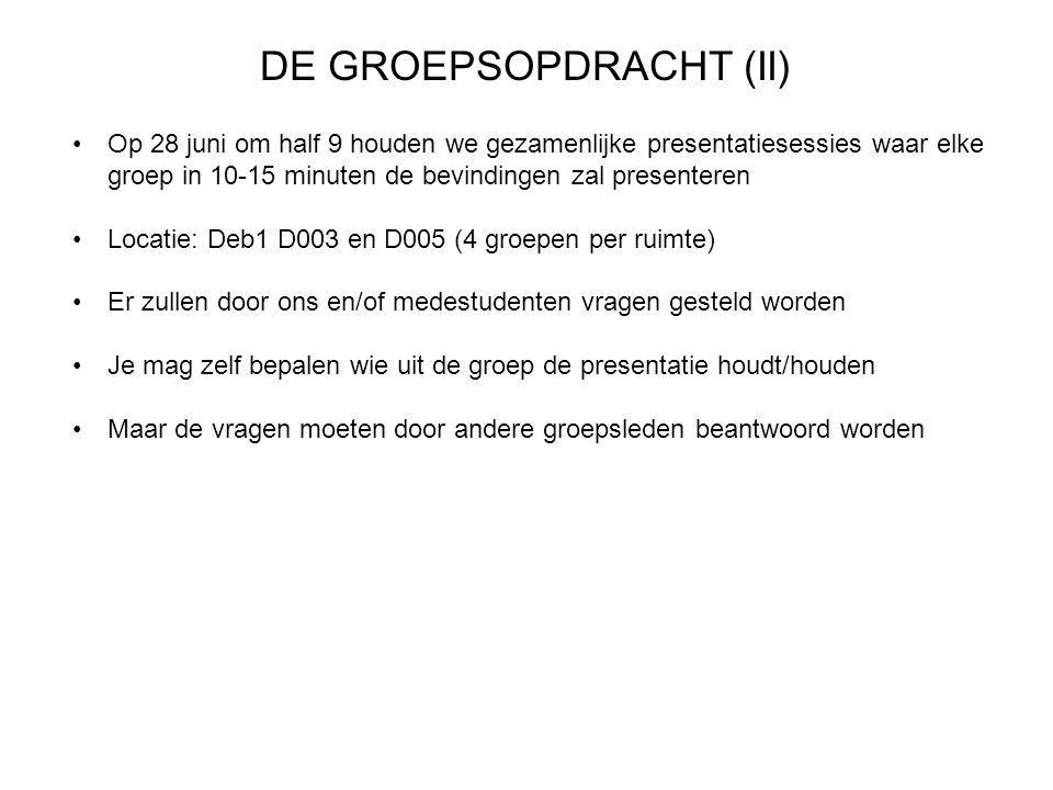 DE GROEPSOPDRACHT (II)