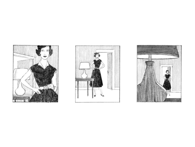 nog een voorbeeld, elk verschillende uitvoering legt de nadruk op een ander aspect van het onderwerp (haar jurk, de ruimte waar ze in staat, de lamp) en een andere gevoel (1ste is persoonlijker, 2de is zakelijker, laatste is meer voyeuristisch)