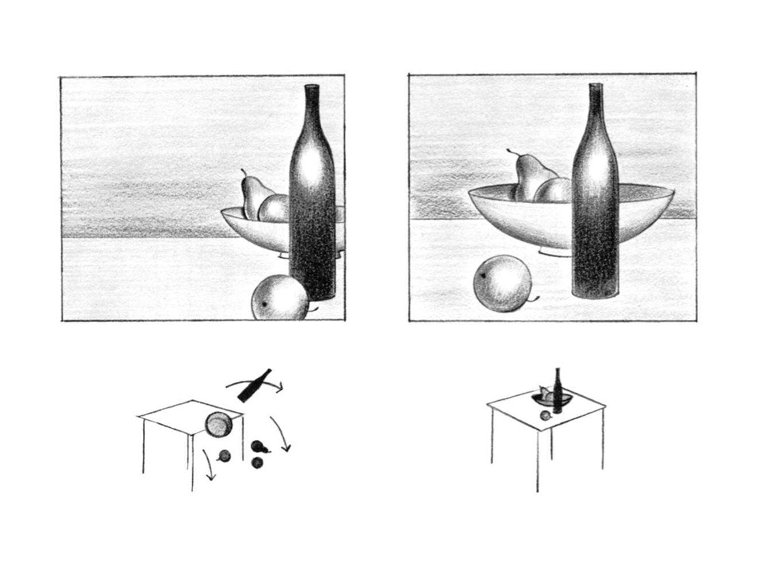 zorg voor balans. op de linker compositie is het beeld te zwaar aan de linker kant.