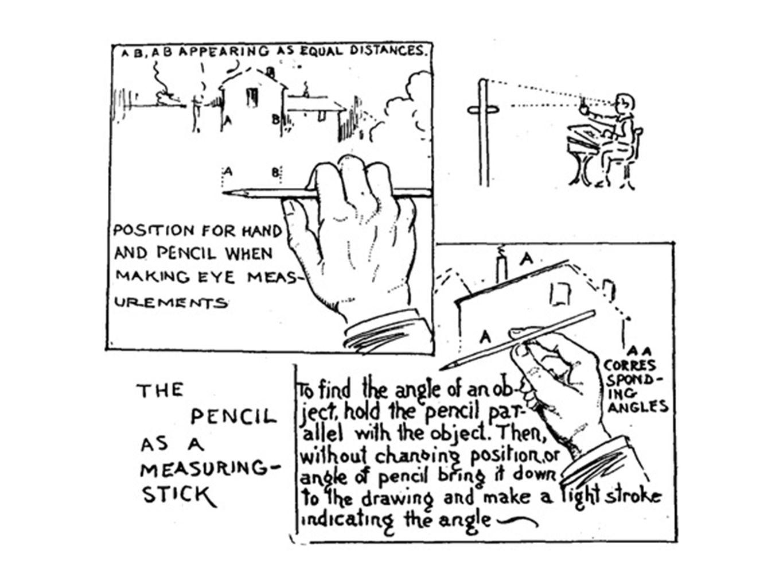 gebruik het potlood ook als hulpmiddel bij het checken van hoeken.