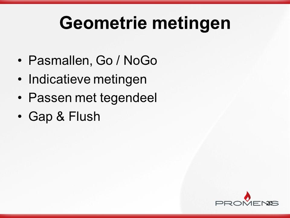 Geometrie metingen Pasmallen, Go / NoGo Indicatieve metingen
