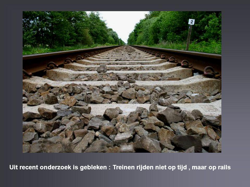 Uit recent onderzoek is gebleken : Treinen rijden niet op tijd , maar op rails