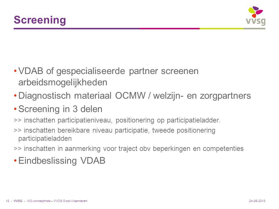 Screening VDAB of gespecialiseerde partner screenen arbeidsmogelijkheden. Diagnostisch materiaal OCMW / welzijn- en zorgpartners.