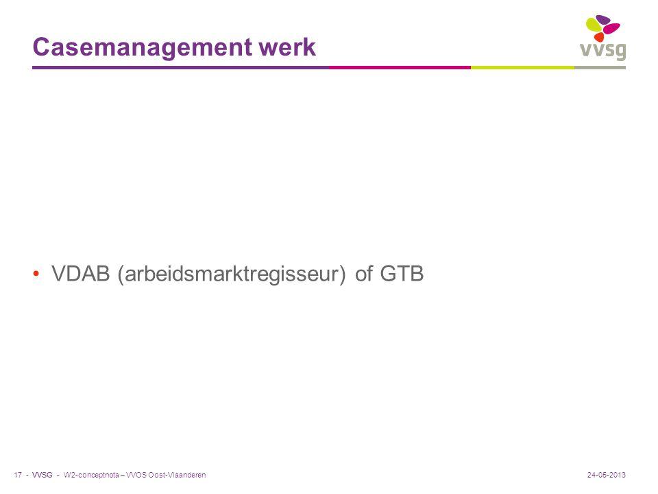 Casemanagement werk VDAB (arbeidsmarktregisseur) of GTB