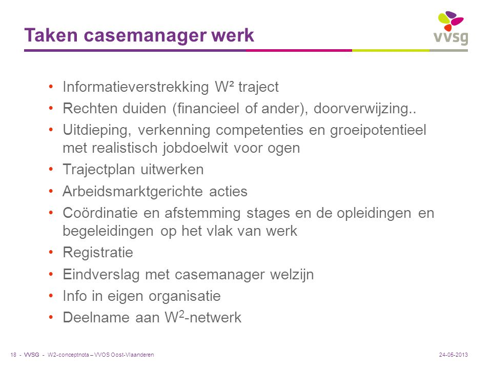 Taken casemanager werk