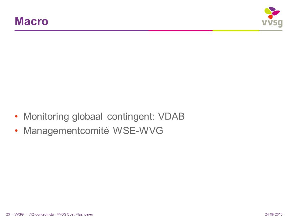 Macro Monitoring globaal contingent: VDAB Managementcomité WSE-WVG