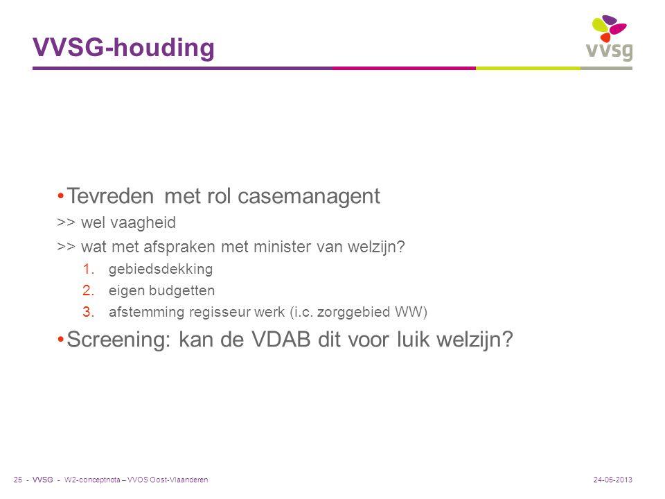 VVSG-houding Tevreden met rol casemanagent