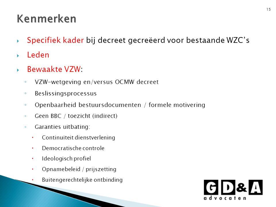 Kenmerken Specifiek kader bij decreet gecreëerd voor bestaande WZC's