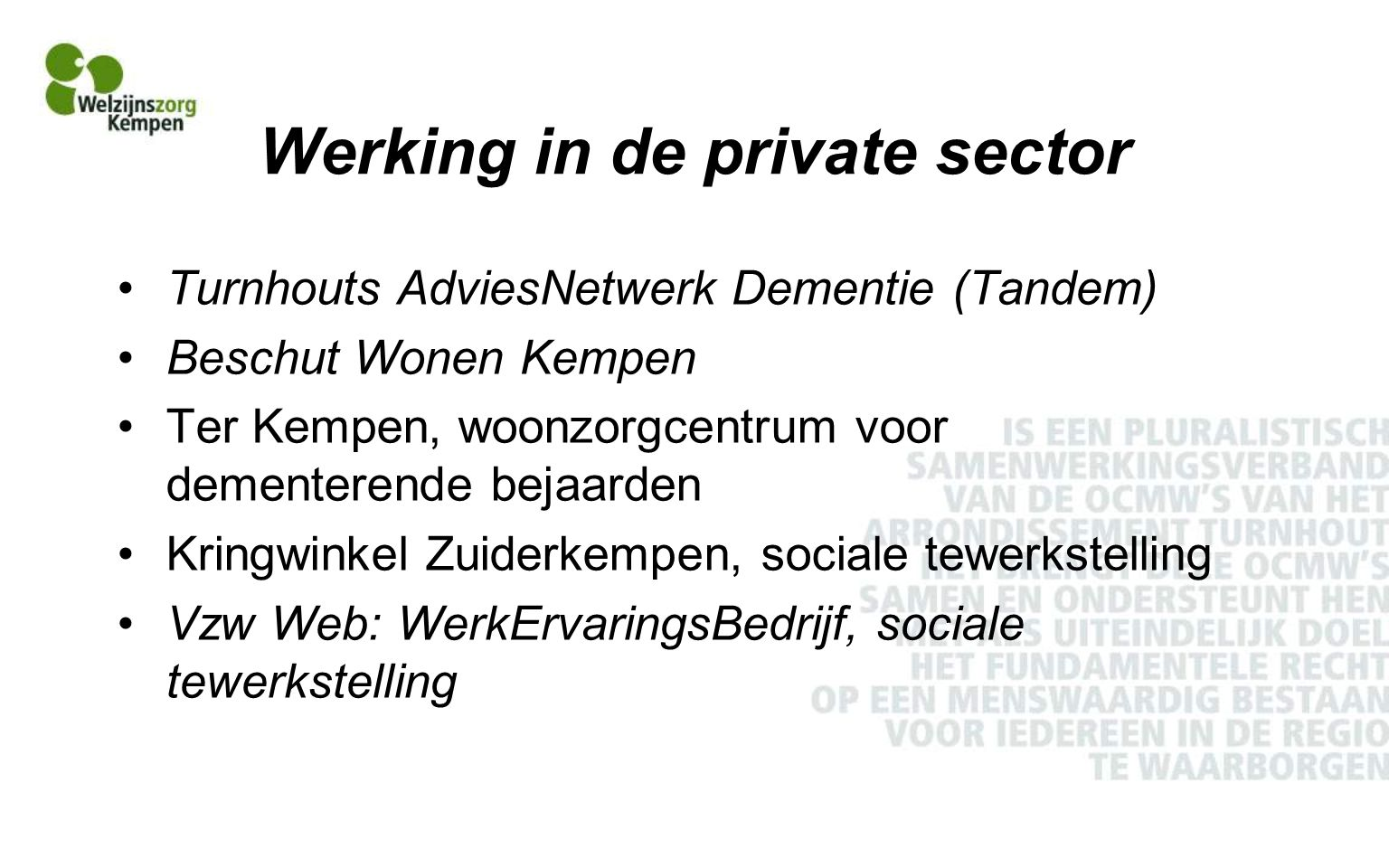 Werking in de private sector