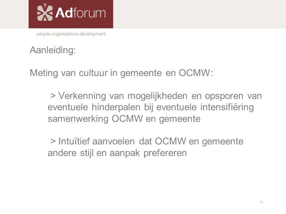 Aanleiding: Meting van cultuur in gemeente en OCMW: