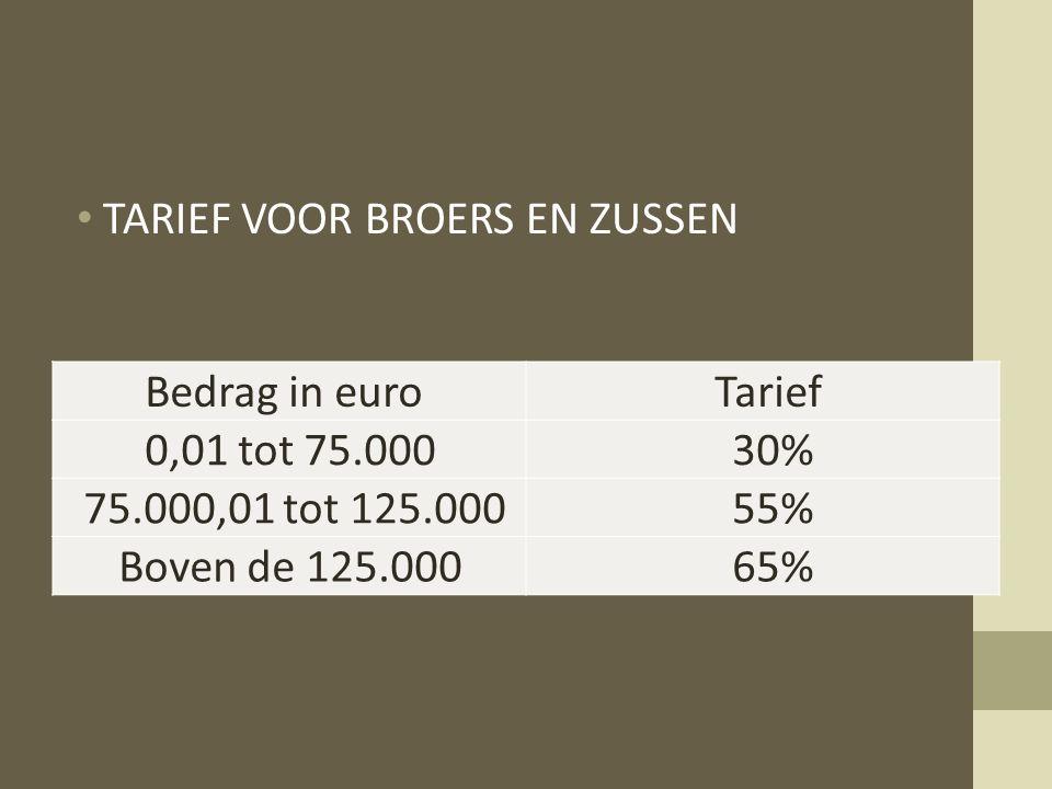 TARIEF VOOR BROERS EN ZUSSEN Bedrag in euro Tarief 0,01 tot 75.000 30%