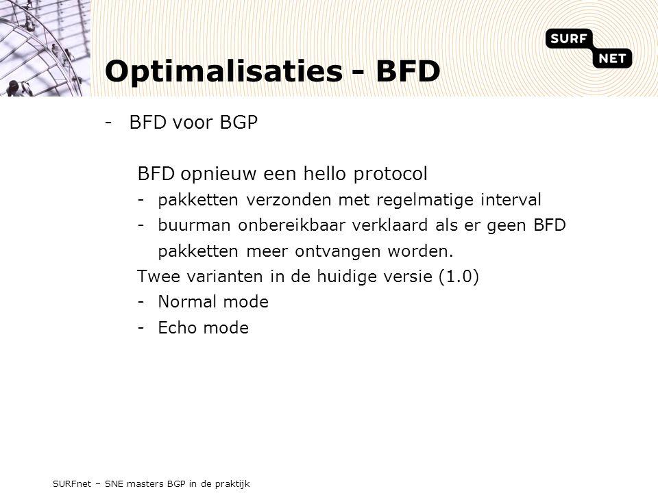 Optimalisaties - BFD BFD voor BGP BFD opnieuw een hello protocol