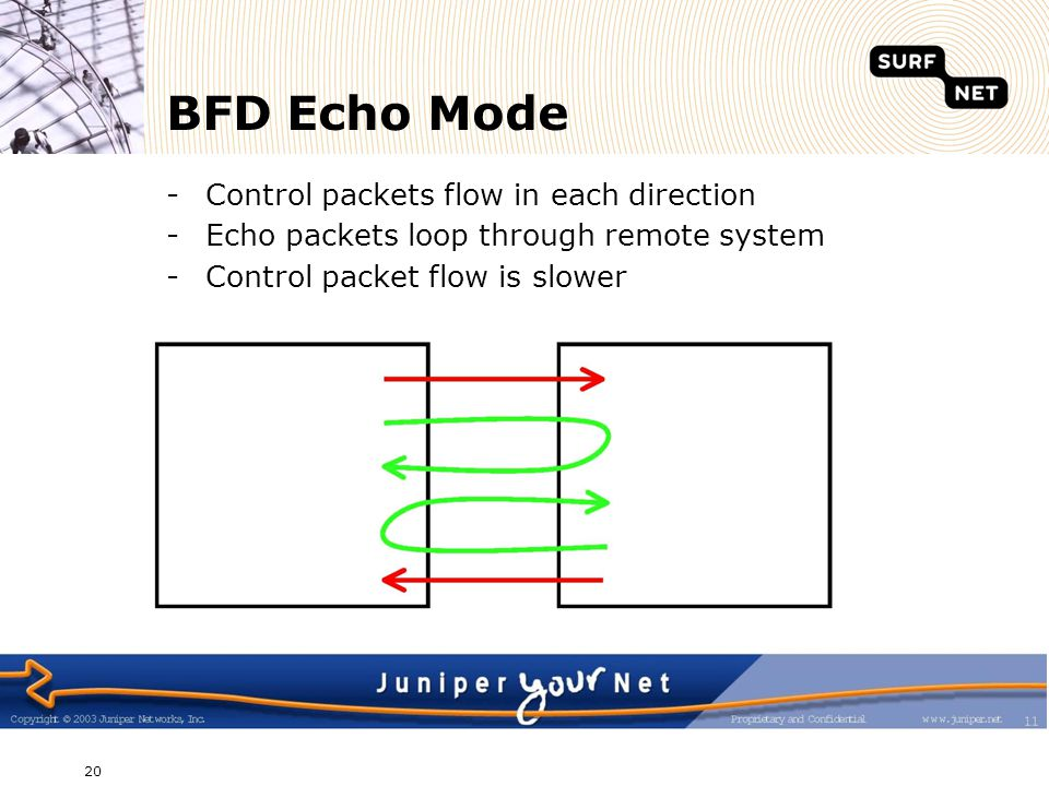 BFD Echo Mode Control packets flow in each direction