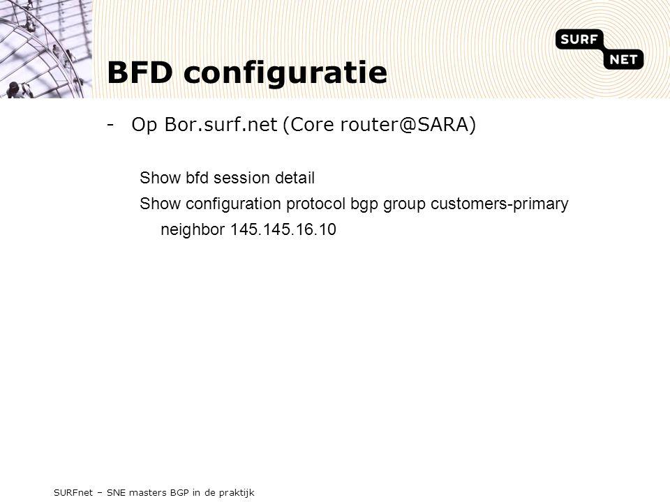 BFD configuratie Op Bor.surf.net (Core router@SARA)