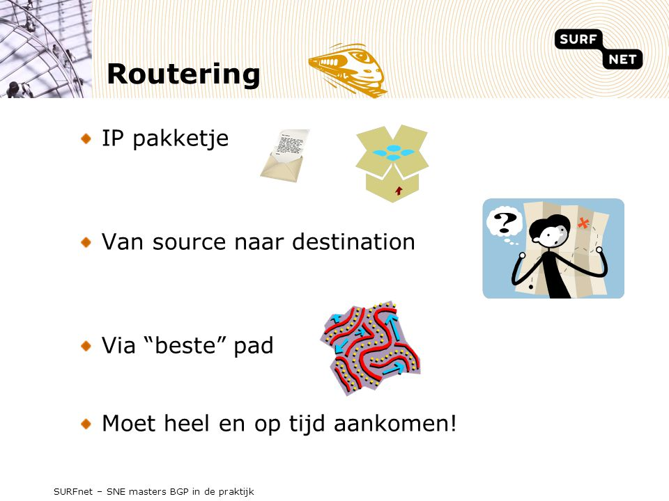 Routering IP pakketje Van source naar destination Via beste pad