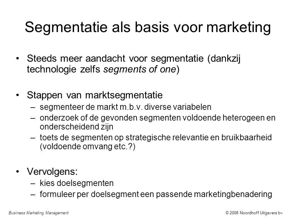 Segmentatie als basis voor marketing