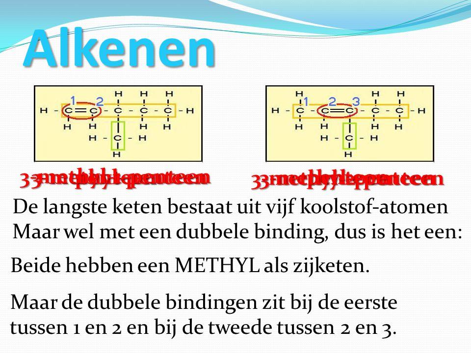 Alkenen 3-methyl-1-penteen 3-methyl-penteen penteen 3-methyl-2-penteen