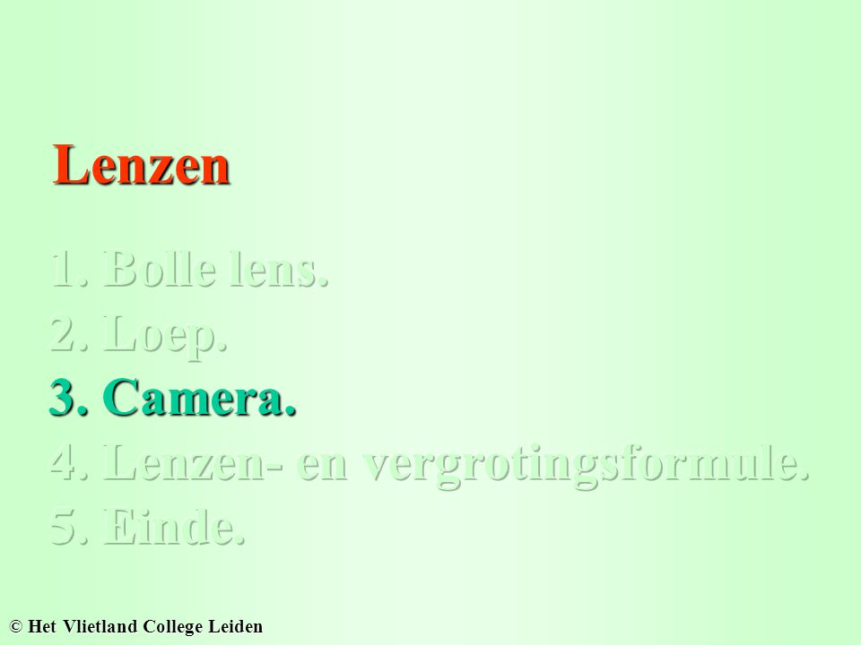Lenzen 1. Bolle lens. 2. Loep. 3. Camera.