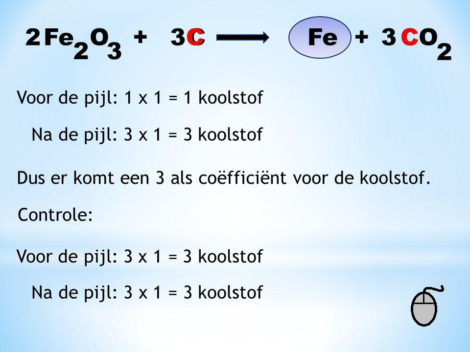 2 Fe O + C Fe + CO 3 C 3 C 2 3 2 Voor de pijl: 1 x 1 = 1 koolstof