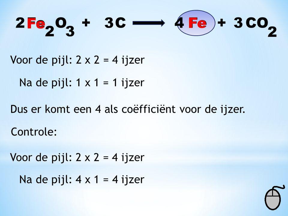 2 Fe Fe O + C Fe + CO 3 4 Fe 3 2 3 2 Voor de pijl: 2 x 2 = 4 ijzer