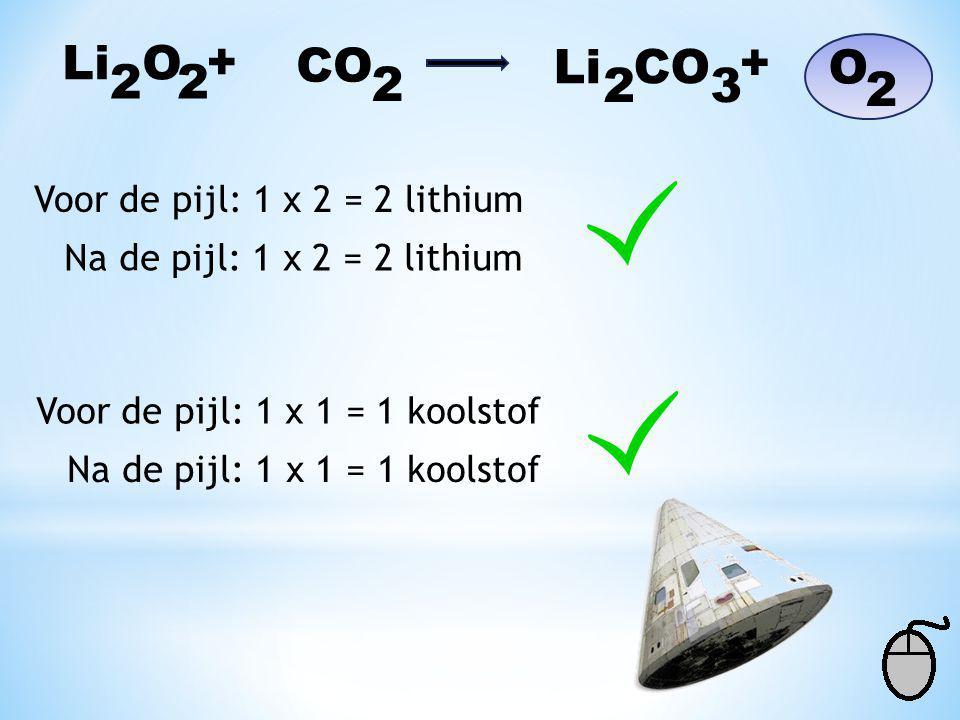 Li O + CO Li CO + O 2 2 2 2 3 2 Voor de pijl: 1 x 2 = 2 lithium