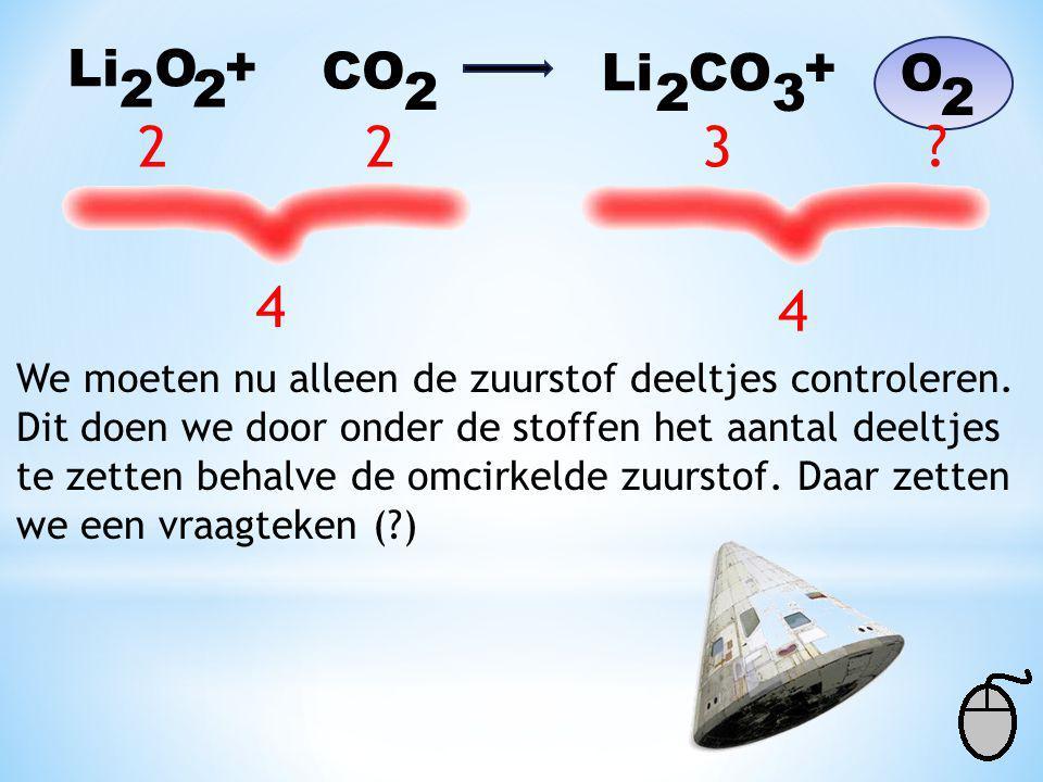 Li O + CO. Li CO. + O. 2. 2. 2. 2. 3. 2. 2. 2. 3. 4. 4. We moeten nu alleen de zuurstof deeltjes controleren.