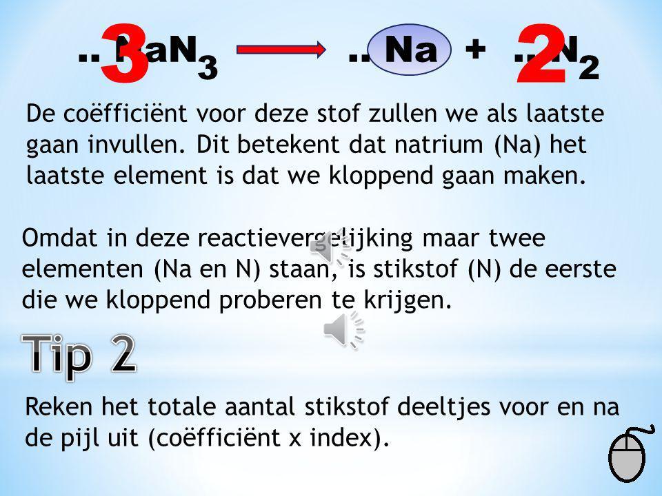 3 2. .. NaN .. Na + .. N. 3. 2. De coëfficiënt voor deze stof zullen we als laatste.