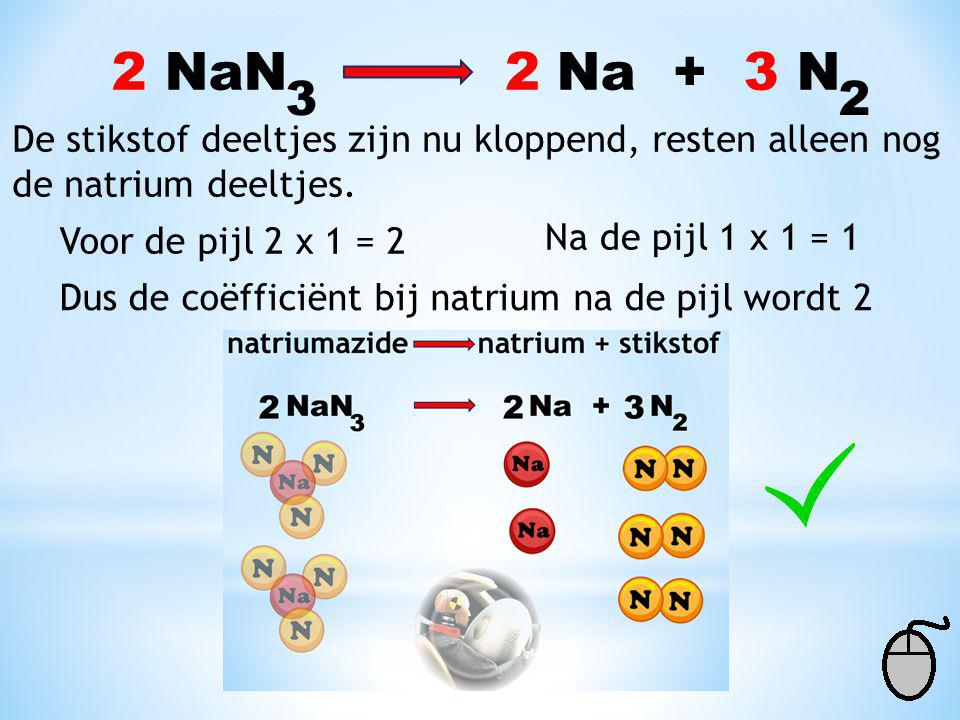 2 NaN Na + 3 N 2. 3. 2. De stikstof deeltjes zijn nu kloppend, resten alleen nog.