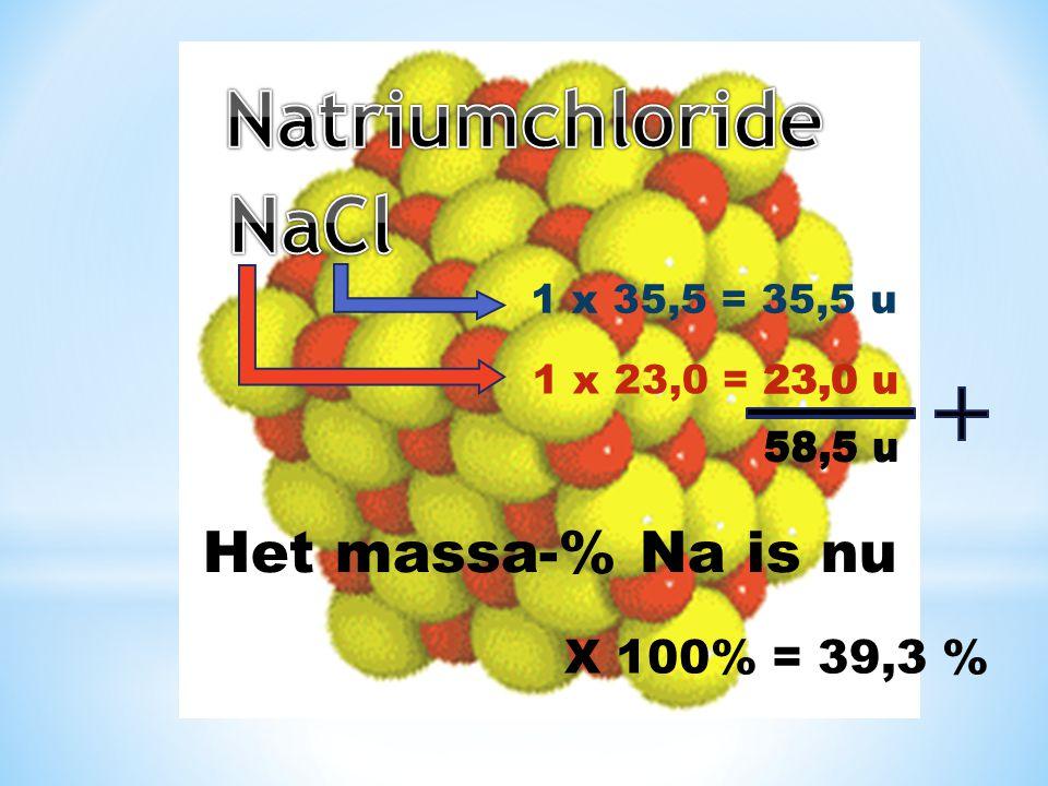 Natriumchloride NaCl Het massa-% Na is nu X 100% = 39,3 %