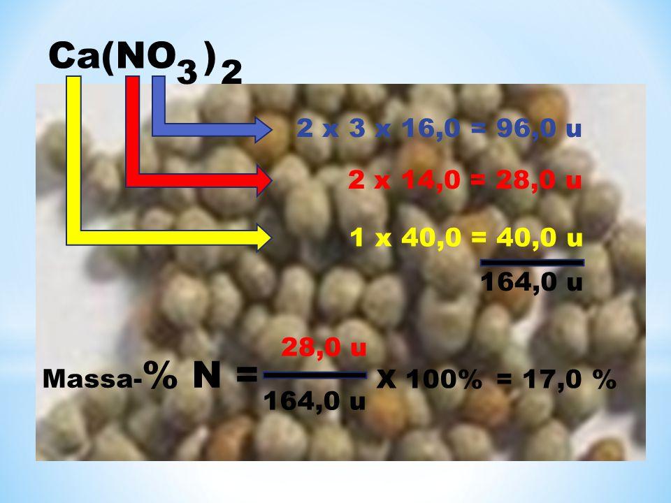 Ca(NO ) 3 2. 2 x 3 x 16,0 = 96,0 u. 2 x 14,0 = 28,0 u. 1 x 40,0 = 40,0 u. 164,0 u. 28,0 u. Massa-% N =