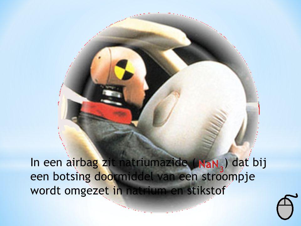 In een airbag zit natriumazide ( ) dat bij