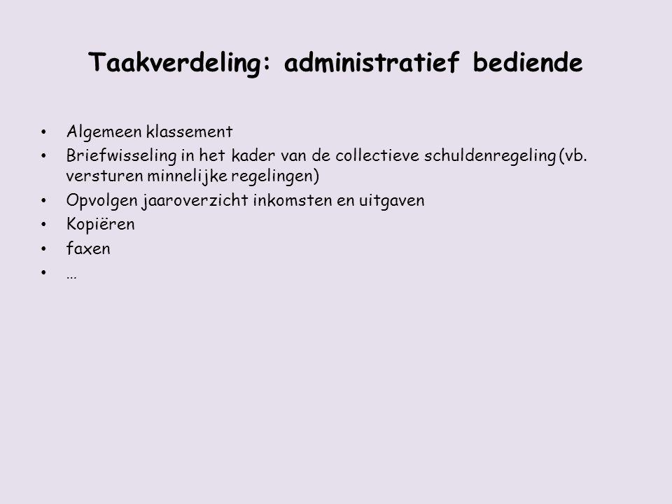 Taakverdeling: administratief bediende