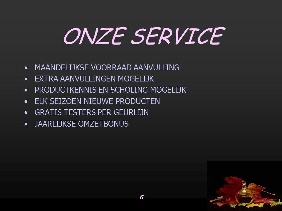 ONZE SERVICE MAANDELIJKSE VOORRAAD AANVULLING