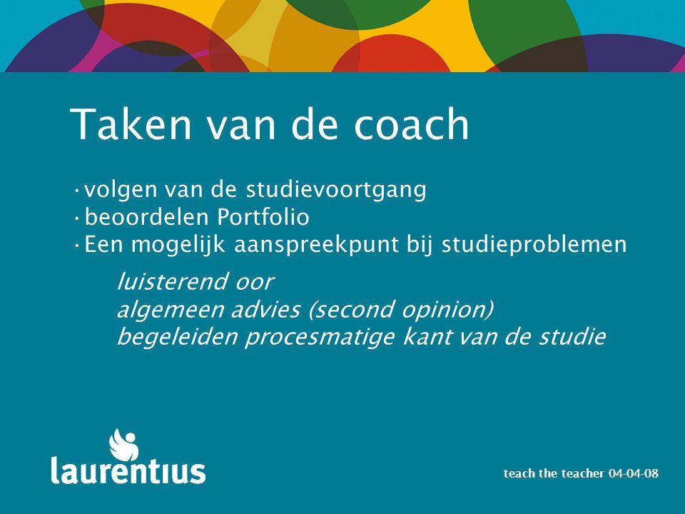 Taken van de coach volgen van de studievoortgang beoordelen Portfolio