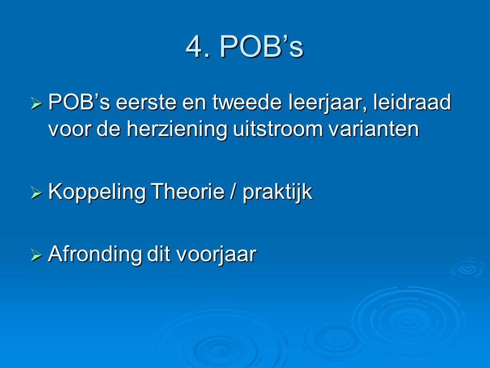 4. POB's POB's eerste en tweede leerjaar, leidraad voor de herziening uitstroom varianten. Koppeling Theorie / praktijk.