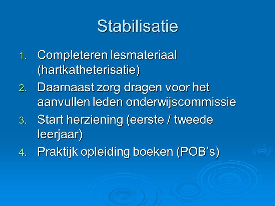 Stabilisatie Completeren lesmateriaal (hartkatheterisatie)