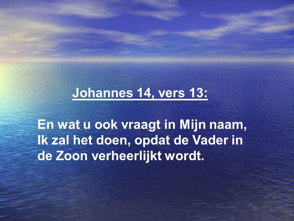 Johannes 14, vers 13: En wat u ook vraagt in Mijn naam, Ik zal het doen, opdat de Vader in de Zoon verheerlijkt wordt.