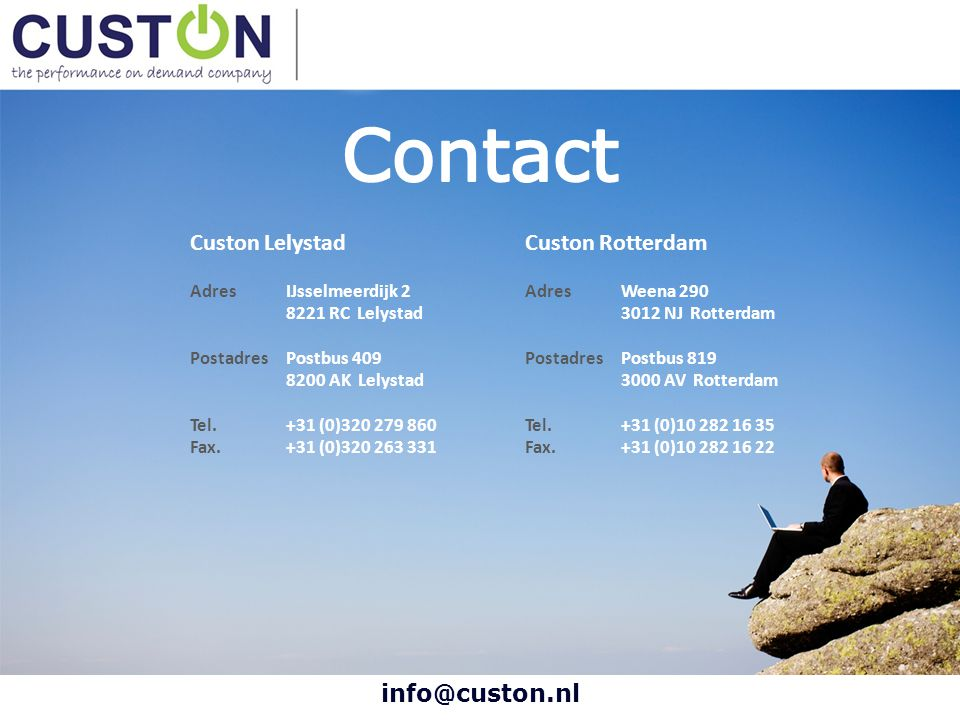 Contact Custon Lelystad