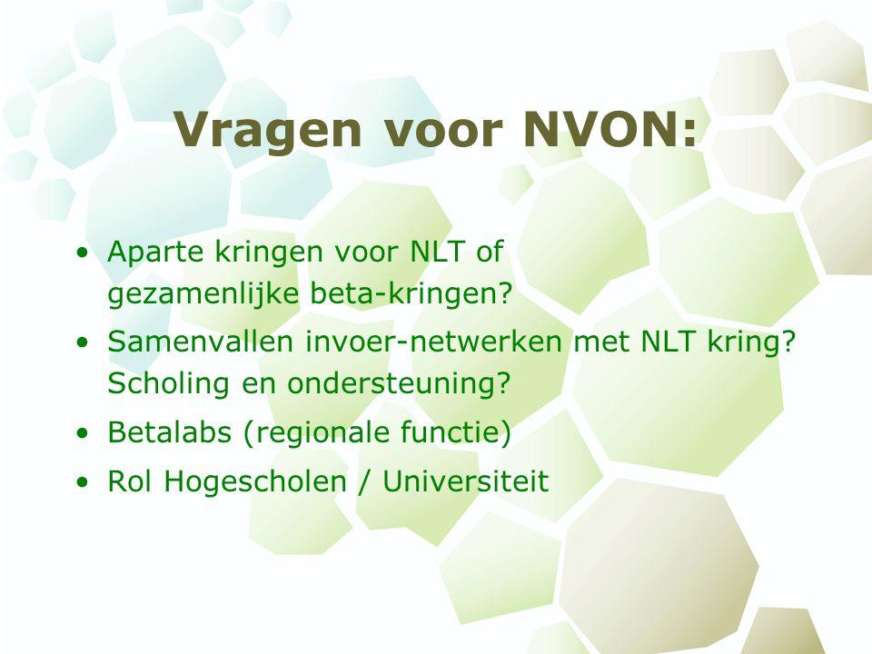 Vragen voor NVON: Aparte kringen voor NLT of gezamenlijke beta-kringen Samenvallen invoer-netwerken met NLT kring Scholing en ondersteuning