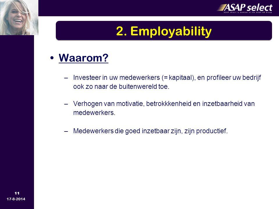 2. Employability Waarom Investeer in uw medewerkers (= kapitaal), en profileer uw bedrijf ook zo naar de buitenwereld toe.