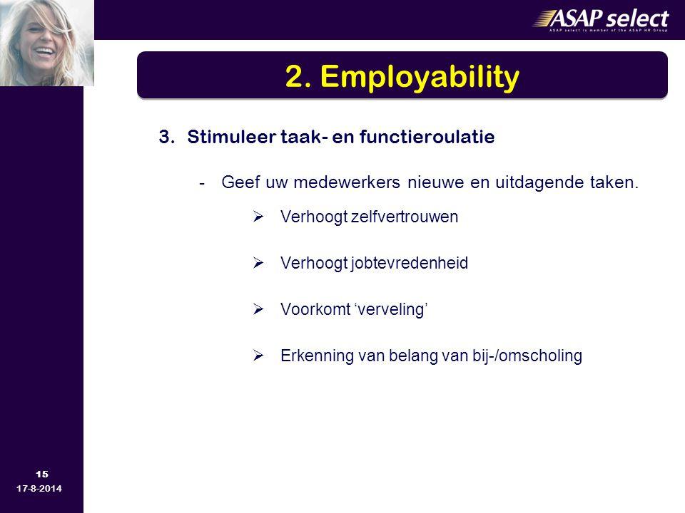 2. Employability Stimuleer taak- en functieroulatie