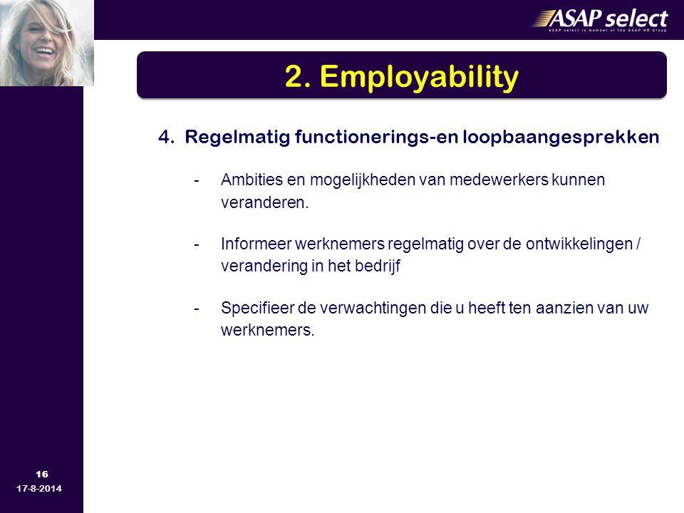 2. Employability 4. Regelmatig functionerings-en loopbaangesprekken