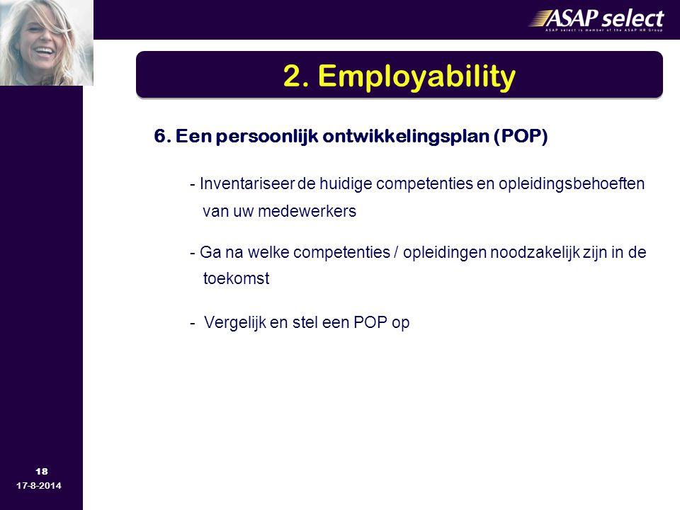 2. Employability 6. Een persoonlijk ontwikkelingsplan (POP) - Inventariseer de huidige competenties en opleidingsbehoeften.