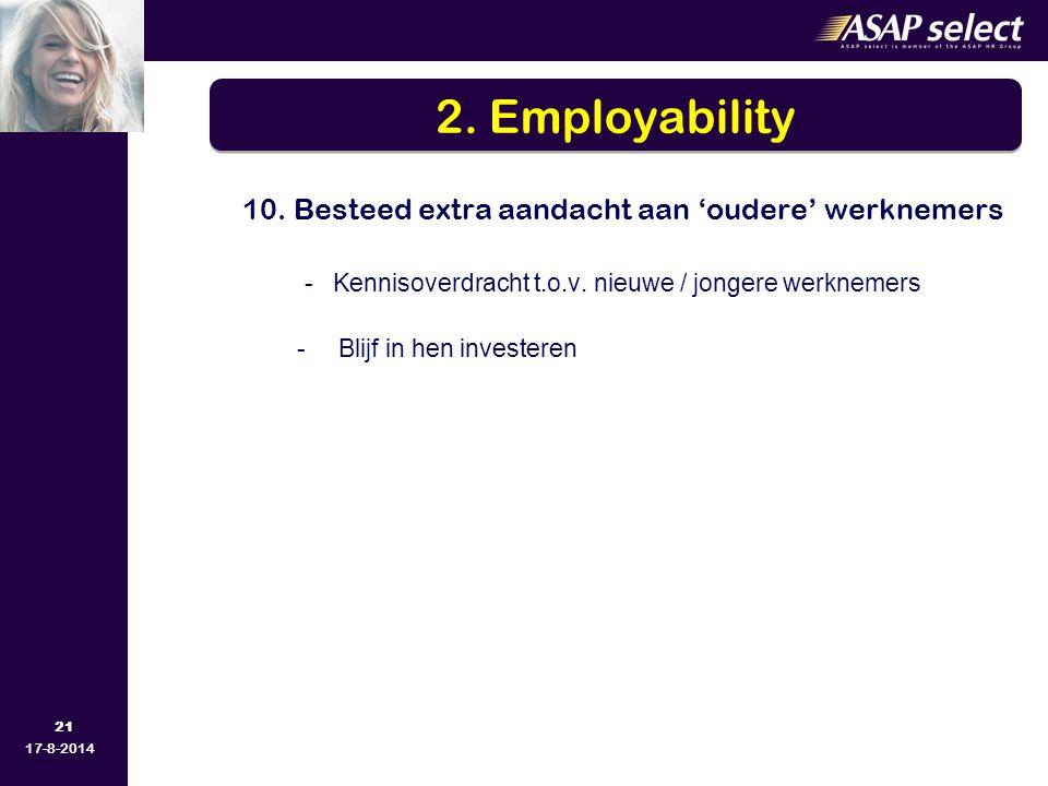 2. Employability - Kennisoverdracht t.o.v. nieuwe / jongere werknemers