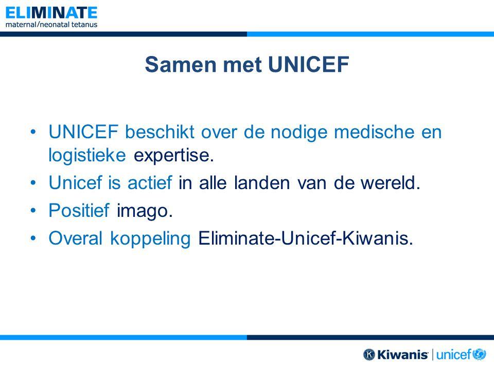 Samen met UNICEF UNICEF beschikt over de nodige medische en logistieke expertise. Unicef is actief in alle landen van de wereld.