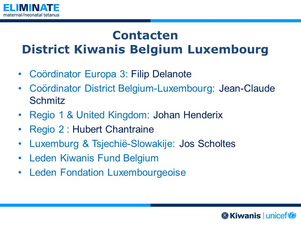 Contacten District Kiwanis Belgium Luxembourg